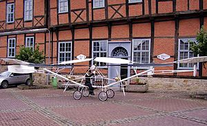 Cornu helicopter - Replica - unable to fly - of the Cornu No. II in front of the Hubschraubermuseum Bückeburg