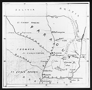 New Australia - Map of Paraguay, drawn by John Lane, brother of William Lane. New Australia and Cosme were both south-east of Asunción, the capital of Paraguay, and close to the town of Villarrica.