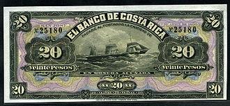 Costa Rican peso - 20 Pesos banknote of 1899, Banco de Costa Rica.