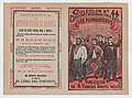 Cover for 'Canciones Modernas para 1898- Los Parranderos', group of men holding a banner and singing MET DP868409.jpg