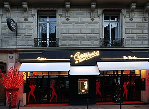 "Partition (song) - A street view of cabaret club Crazy Horse in Paris, where the video for ""Partition"" was filmed"