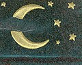 """Crescent moon and stars art detail, from- """"A Merry Halloween."""" (cropped).jpg"""