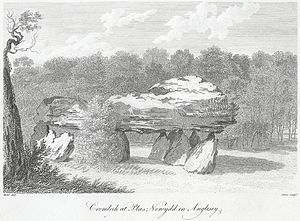 Plas Newydd (Anglesey) - Cromlech at Plas Newydd, black and white print on engraving, 1799