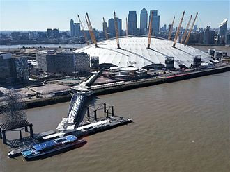 The O2 - The O2 in 2012, with Canary Wharf in the background