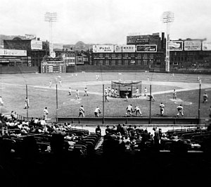 Crosley Field - Crosley's lights are visible in this photo, taken in the late 1940s.