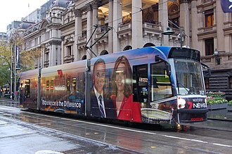 HSV (TV station) - A tram in Seven News Melbourne wrap livery outside Melbourne Town Hall.