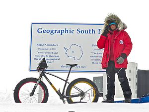 Daniel Burton - Burton at completion of first bike ride from coast of Antarctica to the South Pole