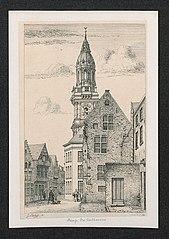 De Kathelijnevest met de toren van de Sint-Carolus Borromeuskerk