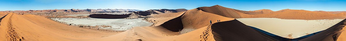 Full panoramic view of the landscape around Deadvlei, Namib-Naukluft Park, Namibia.