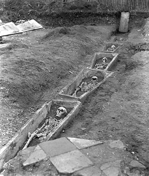 English: Dead abbots and their coffins, Bury S...