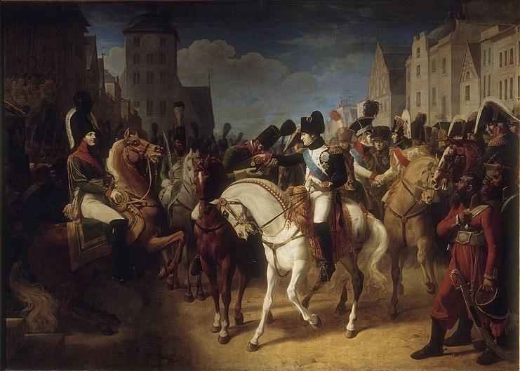 Debret - Napoléon décore à Tilsitt un soldat de l'armée russe de la croix de la Légion d'honneur (9 juillet 1807)
