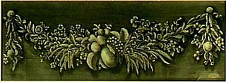 Decoratiestuk met guirlande van vruchten, bloemen en korenhalmen
