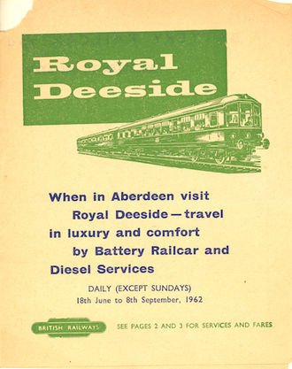 Banchory railway station - Leaflet advertising train services on the Deeside line, 1962