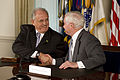 Defense.gov News Photo 100412-D-7203C-004 - Secretary of Defense Robert M. Gates and Brazilian Defense Minister Nelson Jobim shake hands after signing a U.S. and Brazil Cooperation Agreement.jpg