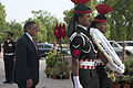 Defense.gov News Photo 120606-D-BW835-258 - Secretary of Defense Leon E. Panetta walks with Indian military policemen during a wreath laying ceremony at India Gate in Delhi India on June 6.jpg
