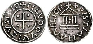 Vita Hludovici - Denier of Louis (20mm, 1.65 g, 1h). Uncertain mint. Struck 822-840 AD.  Obverse: HLVDOVVICVS IMP, cross; pellet in each quarter.  Reverse: XPISTIANA RELIGIO, temple; cross within.