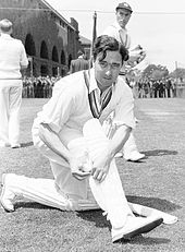 A black-and-white photograph of Denis Compton, who played cricket and football at a professional level.