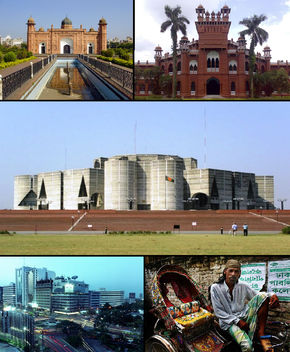 Lalbagh Fort, University of Dhaka (Curzon Hall), Parlament de Bangladesh, Kawran Bazaar, Dhaka rickshaw