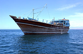 Gulf of Aden - A dhow in the Gulf of Aden.