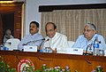 Dinesh Trivedi addressing the media persons, at Rail Bhavan, in New Delhi on July 14, 2011. The Minister of State for Railways, Shri Bharatsinh Solanki and the Chairman, Railway Board, Shri Vinay Mittal are also seen.jpg