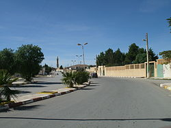 Main street of the town with the Ouled Naïl Range in the background