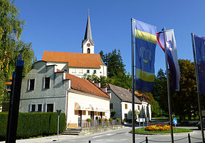 Dobrna - Main square and church