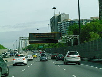 Don Valley Parkway - A changeable message sign on northbound parkway, part of the RESCU traffic management system