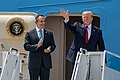 Donald Trump and Matt Bevin greet supporters as they arrive at the Kentucky Air National Guard Base in Louisville.jpg