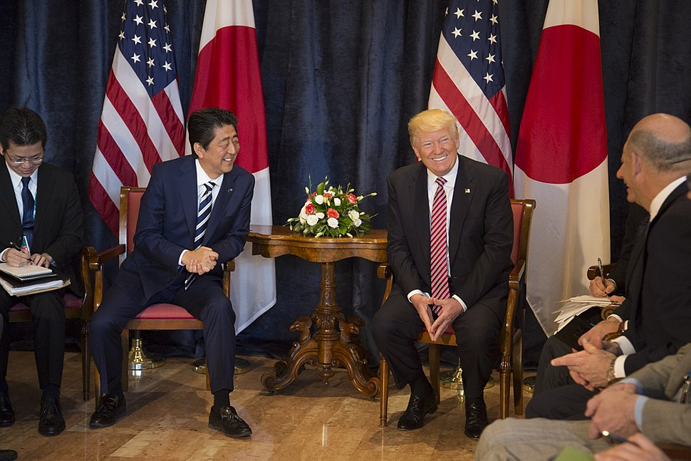 Donald Trump and Shinz%C5%8D Abe at 43rd G7 summit