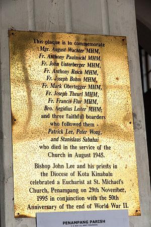 St. Michael's Church, Penampang - A plaque.