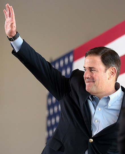 Ducey at a campaign rally in Gilbert, Arizona in October 2018. Doug Ducey by Gage Skidmore 11.jpg