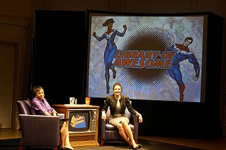 Lynda Carter - On June 16, 2017, Dr. Carla Hayden and Lynda Carter at the Library of Awesome event, where a discussion of the United Nations, the new Wonder Woman movie, and feminism was held.