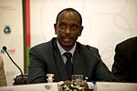 Dr Richard Sezibera, GAVI board member, at the GAVI pledging event press conference.jpg