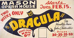 Hamilton Deane - Poster for a Federal Theatre Project production of Dracula in 1938