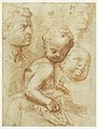 Drawing, Study of man, woman and child heads, sitting child, ca. 1570 (CH 18351315).jpg