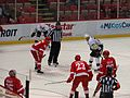 Drew Miller and Brian Lashoff, Faceoff, Detroit Red Wings vs. Pittsburgh Penguins, Joe Louis Arena, Detroit, Michigan (21516337719).jpg