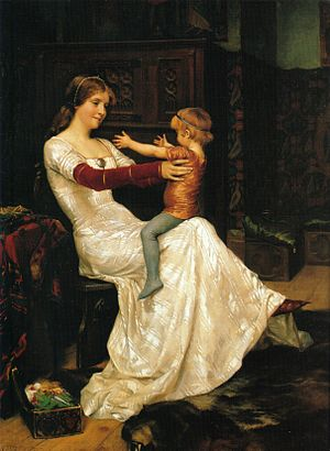 "Haakon VI of Norway - Albert Edelfelt's romanticised painting of Haakon on his mother's knee, singing the children's song ""Rida rida ranka, hästen heter Blanka... (Riding a horse named Blanche...)"""