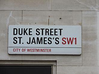 Duke Street, St James's - Street sign for Duke Street, St James's, SW1