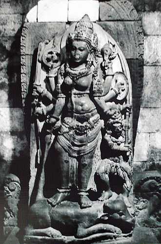 Shaktism - A 9th-century Durga Shakti idol, victorious over demon Mahishasura, in Indonesia.