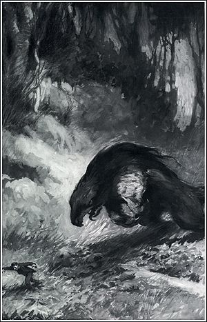 "Pellucidar - Illustration of a ""dyryth"" from At the Earth's Core (1922), by James Allen St. John"