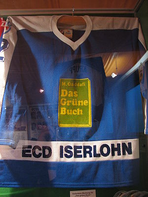 Iserlohn Roosters - The 1987 ECD Iserlohn shirt with Gaddafi's Green Book advertisement