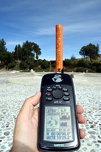 Equator - GPS reading taken on the Equator close to the Quitsato Sundial, at Mitad del Mundo, Ecuador.