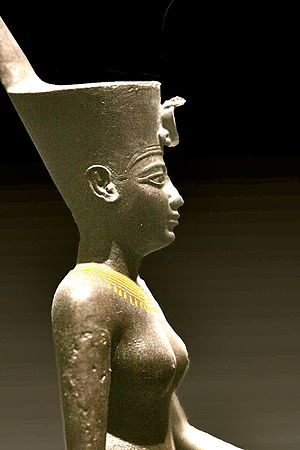 Neith - Egyptian war goddess Neith wearing the Deshret crown of northern (lower) Egypt, which bears the cobra of Wadjet