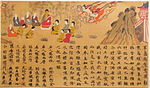 People seated around a Buddha statue and two heavenly beings descending from the sky. The lower part of the painting is covered by Chinese text.
