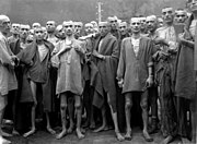 Mistreated and starved prisoners in the Mauthausen camp, Austria, 1945.