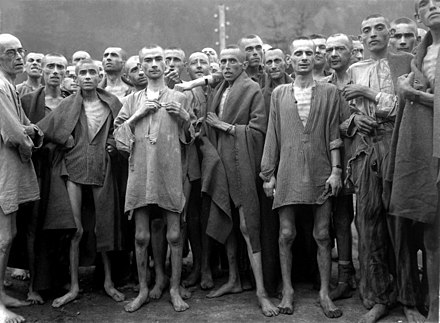Starving prisoners in Ebensee concentration camp, part of the Mauthausen concentration camp liberated on May 5, 1945 Ebensee concentration camp prisoners 1945.jpg