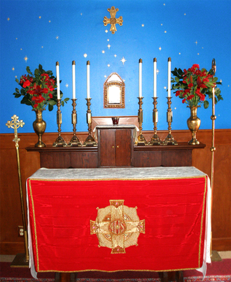 Ecclesia Gnostica - Ecclesia Gnostica (Gnostic Church) chapel in Los Angeles. Altar set up for a vespers service.