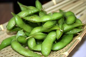 Boiled green soybeans in the pod.