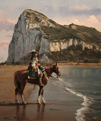 Diego de Salinas - The Last of Gibraltar, by Augusto Ferrer-Dalmau. It depicts Diego de Salinas in 1704, with the Rock of Gibraltar in the background.