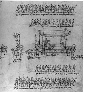 Coronation of Elizabeth I of England - Queen Elizabeth's litter at her royal entry, accompanied footmen and Gentlemen Pensioners.